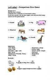 English Worksheet: Comparing Animals Dice Game