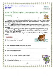 English Worksheets: read the text and answer the questions correctly