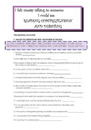 English Worksheets:  I FELT USEASY TALKING TO SOMEONE I COULDNT SEE  (8pages)