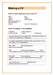 english teaching worksheets curriculum vitae cv