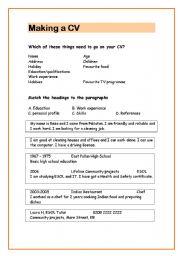 English Worksheet: CV