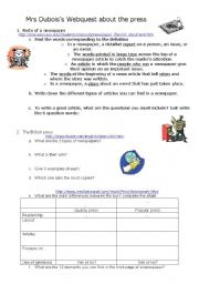 English Worksheets: Webquest on the press
