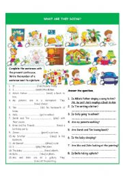 English Worksheets: What are they doing? - present continuous