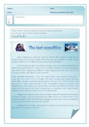 English Worksheets: Reading comprehension test on Alison Hargreaves´s last expedition
