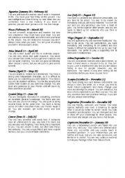 English Worksheet: Horoscope signs