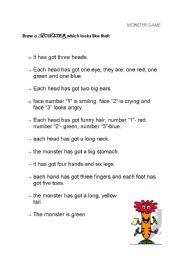 English Worksheet: Body parts- the Monster Game