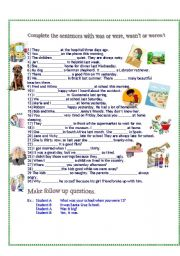 English Worksheet: Was Were - Past Simple of to Be