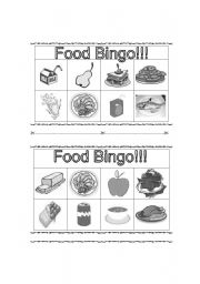 English Worksheet: Food Bingo (Black and White)