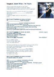 English Worksheet: Songtext-Jason Mraz - I´m yours