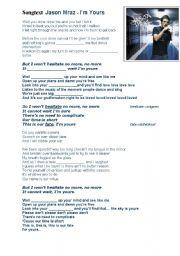 English Worksheets: Songtext-Jason Mraz - I�m yours