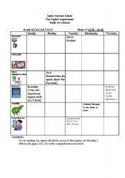 English Worksheets: English Weeklyplan