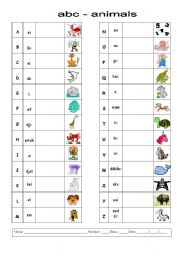 English Worksheets: ABC - with animals
