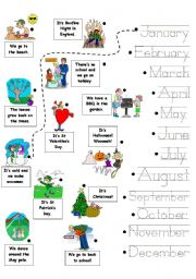 English Worksheet: Months of the Year - Trace and Match