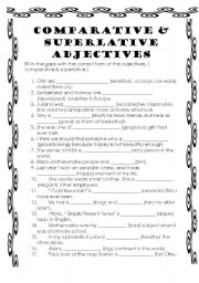 ESL Worksheets for adults: comparative and superlative adjectives