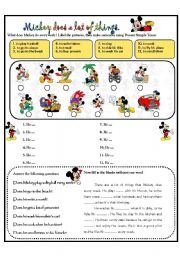 English Worksheets: MICKEY DOES A LOT OF THINGS.