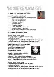English Worksheets: no one Alicia KEys