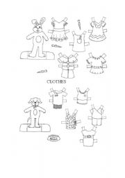 English Worksheet: CUT AWAY AND PAINT THE CLOTHES AND DRESS YOUR PET