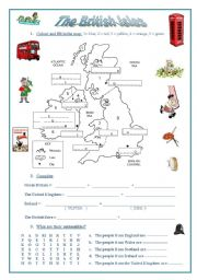English worksheet: The British Isles (a map, emblems, nationalities, flags)