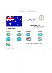 English Worksheet: Australia´s weather forecast report (card 1)