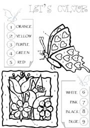 English Worksheet: Colour the butterfly and the flowers