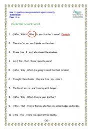 English Worksheets: grammatical aspects
