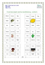 English Worksheets: learn more new words