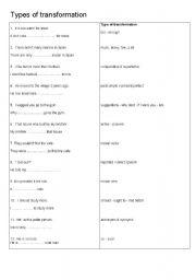 English Worksheet: types of sentence transformation