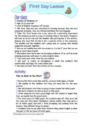 English Worksheets: First Day Lesson