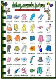 English Worksheet: Clothes acessories   foot-wear (2/2)