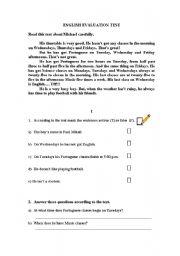 English Worksheets: worksheet - reading comprehension