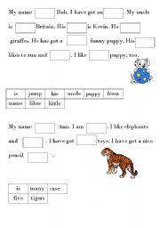English Worksheets: Gaps
