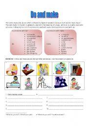 English Worksheet: Do vs. Make (2 pages)