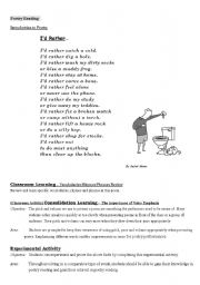 English Worksheets: Poetry Ready/ Lesson Plan+ Lesson Content & Class Activity (with Tutor Notes)