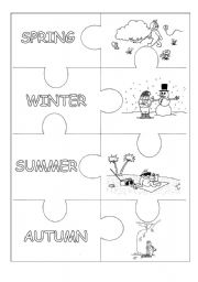 English Worksheet: Seasons Puzzle