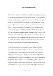 English Worksheet: Sample pursuasive essay on Youth ion Korea and Australia