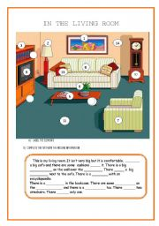 English Worksheet: THERE IS/ THERE ARE: IN THE LIVING ROOM: prepositions