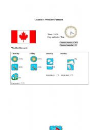English Worksheet: Canada´s weather forecast report (card 3)