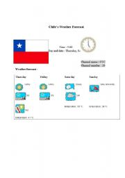 English Worksheet: Chile�s weather forecast report (card 4)