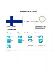 English Worksheet: Finland´s weather forecast report (card 5)