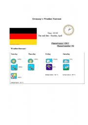 English Worksheet: Germany�s weather forecast report (card 6)