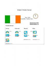 English Worksheet: Ireland´s weather forecast report (card 7)