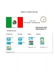 English Worksheet: Mexico�s weather forecast report (card 8)