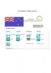 English Worksheet: New Zealand�s weather report (card 9)