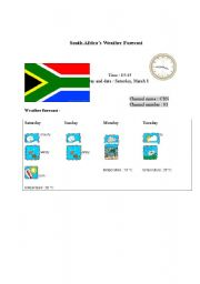 English Worksheet: South Africa�s weather forecast report (card 10)