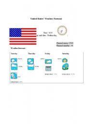 English Worksheet: United States´ weather forecast report (card 12)