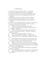 English Worksheets: Forty Questions 1