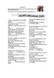 English Worksheets: Song Hearts Breaking Even by Bon Jovi