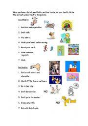 worksheet: Good-Bad habits