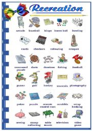 English Worksheets: Recreation