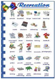English Worksheet: Recreation